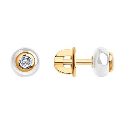 6025070 - Серьги из золота с бриллиантами и белыми керамическими вставками