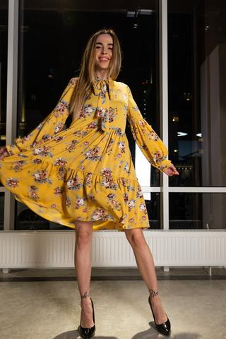 Платье желтое расклешенное интернет магазин