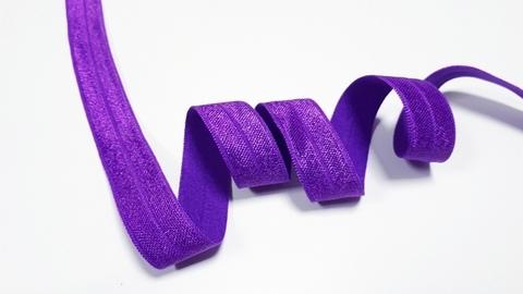 Эластичная бейка (косая бейка) с блеском, 15 мм, фиолетовый