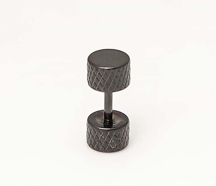 ER465-3 Черные мужские серьги гантели из стали фото 03