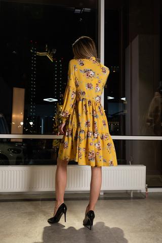 Платье желтое расклешенное оптом