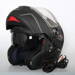Шлем-модуляр с подогревом стекла MT Atom, чёрный матовый