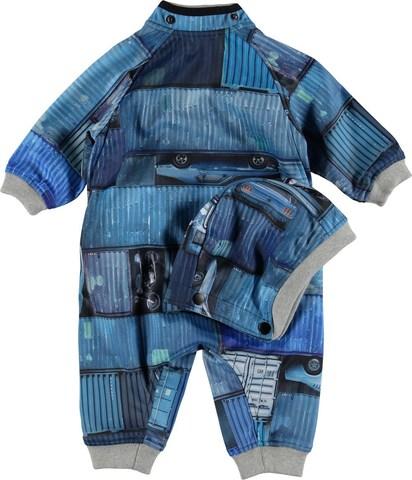 Molo Hill комбинезон для мальчика весна soft shell  Blue Containers