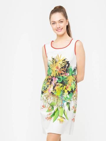 Фото хлопковое летнее платье приталенного силуэта в цветочек - Платье З102-538 (1)