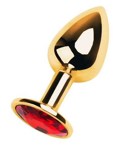 Золотистая коническая анальная пробка с красным кристаллом - 7 см.