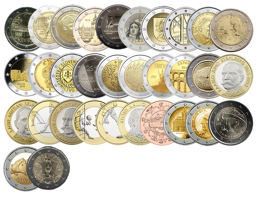 Набор монет евро Евро за 2016 год. 32 монеты.