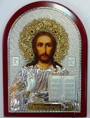 Серебряная с золочением икона Иисуса Христа Спасителя 34х25см, инкрустированная драгоценными камнями,  в подарочной коробке
