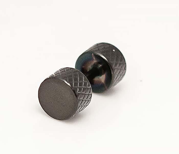 ER465-3 Черные мужские серьги гантели из стали фото 05