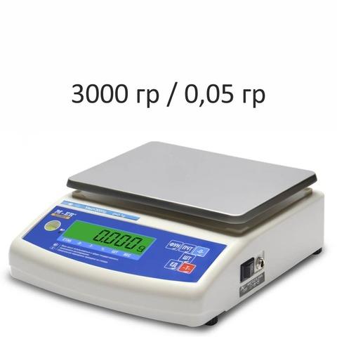 Купить Весы лабораторные/аналитические Mertech M-ER 122ACF-3000.05 Accurate, LCD, АКБ, 3000гр, 0,05гр, 140х180, с поверкой, высокоточные