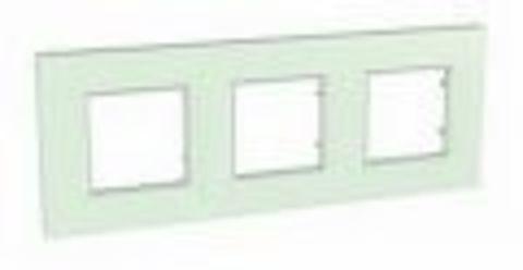 Рамка на 3 поста. Цвет Матовое стекло. Schneider Electric Unica Quadro. MGU2.706.17