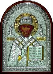 Серебряная с золочением инкрустированная гранатами икона святителя Николая Чудотворца (Угодника) 34х25см в подарочной коробке