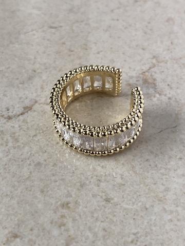 Кольцо Бритчи с цирконами, позолота