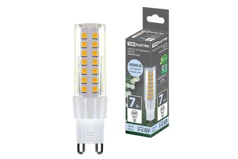 Лампа светодиодная G9-7 Вт-230 В-4000 К, SMD, 17,5x65,5 мм TDM