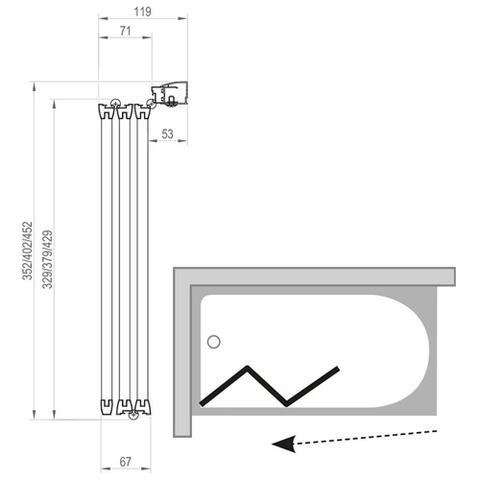Шторка для ванны Ravak Supernova VS3 - 115 белая + транспарент 795S0100Z1 схема