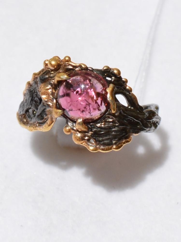 Патина- турмалин (серебряное кольцо с позолотой)