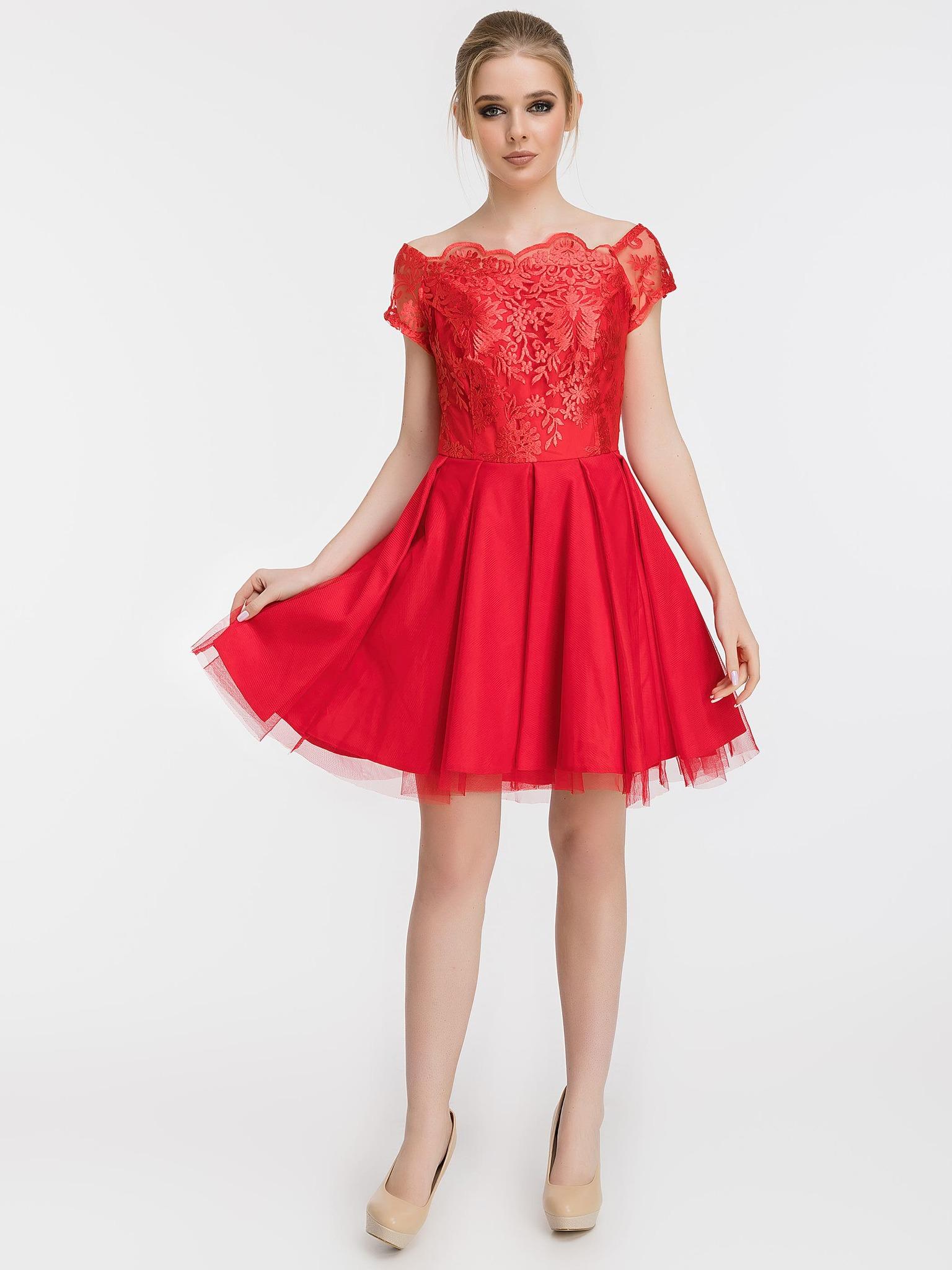 Коктейльное платье с пышной юбкой и кружевным топом, красное