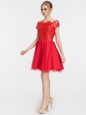 Коктейльное платье с пышной юбкой и кружевным топом, красное 1