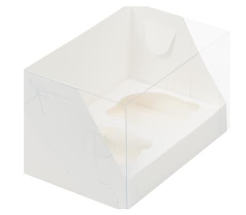 Коробка на 2 капкейка с пластиковой крышкой белая, 16*10*10см