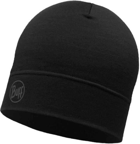 Тонкая шерстяная шапка Buff Solid Black фото 1