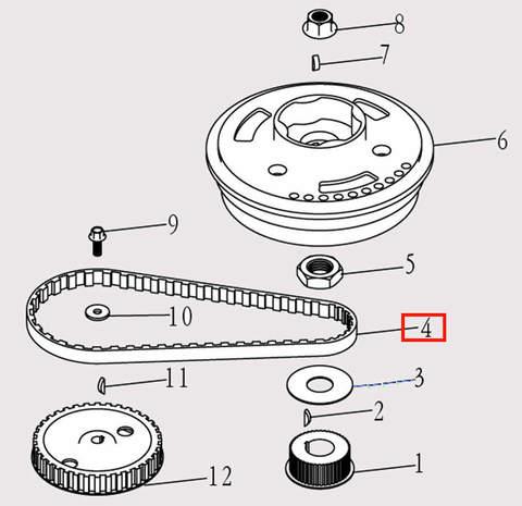 Ремень ГРМ для лодочного мотора F9.8 Sea-PRO (5-4)