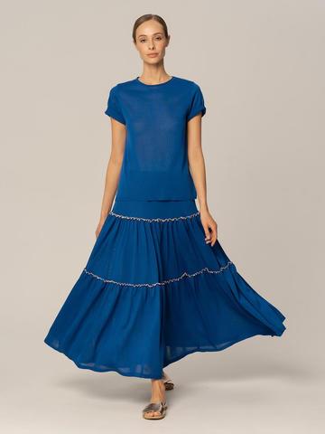 Женская юбка синего цвета из вискозы - фото 4