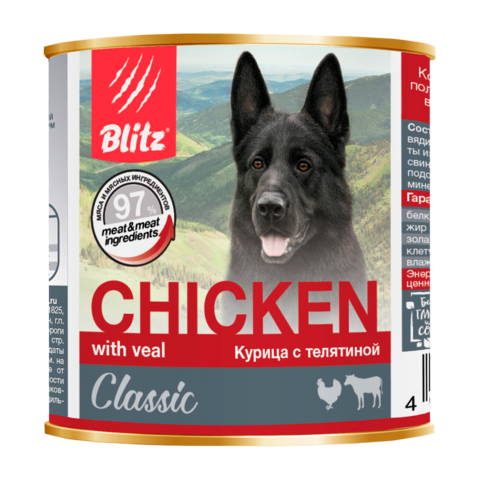 Blitz Classic Консервы для собак с курицей и телятиной (Банка)