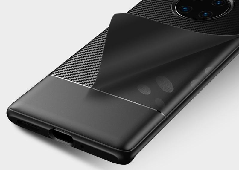 Тонкий чехол на Huawei Mate 30 Pro стиль карбон, серии Fit от Caseport