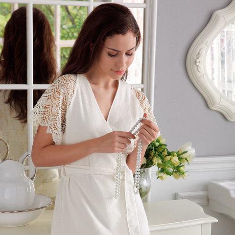НАБОР 2 предмета: SANTROPEZ кремовый махровый женский халат и полотенце 50х100 Tivolyo Home (Турция)