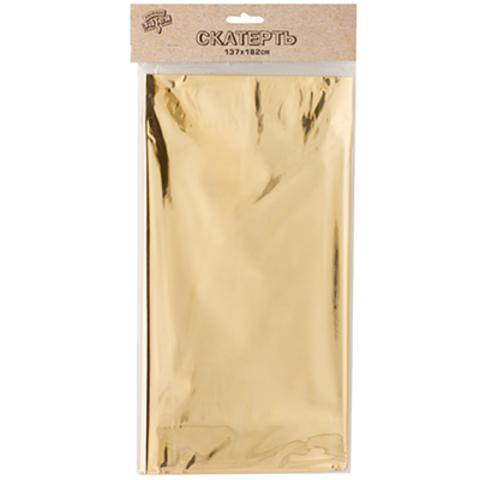 Скатерть блестящая золотая 137х182 см