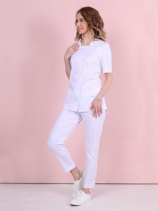 Белая блуза медицинская Бл-356|MediS.moda