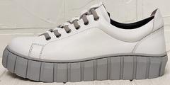 Белые кожаные кроссовки кеды женские на платформе Guero G146 508 04 White Gray.
