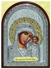 Серебряная с золочением инкрустированная гранатами икона Божией Матери Казанская 34х25см в подарочной коробке