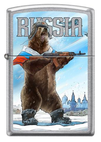 Зажигалка Zippo Русский медведь с покрытием Street Chrome™, латунь/сталь, серебристая, матовая123