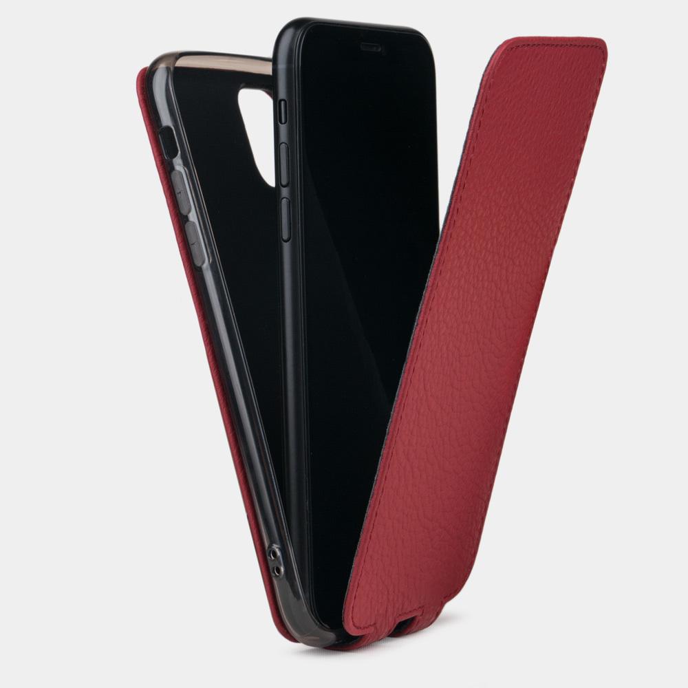 Чехол для iPhone 11 из натуральной кожи теленка, вишневого цвета
