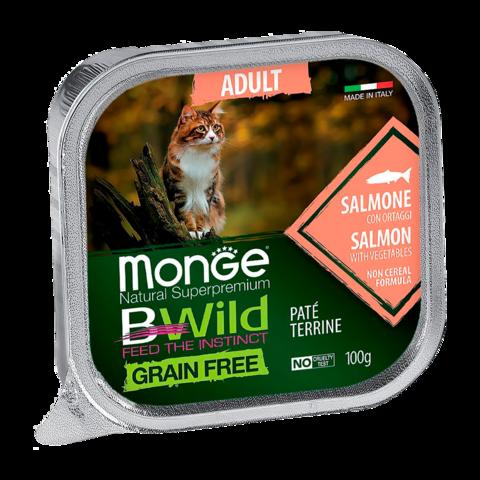 Monge Cat BWild Grain Free Консервы для стерилизованных кошек из лосося с овощами, беззерновые (ламистер)