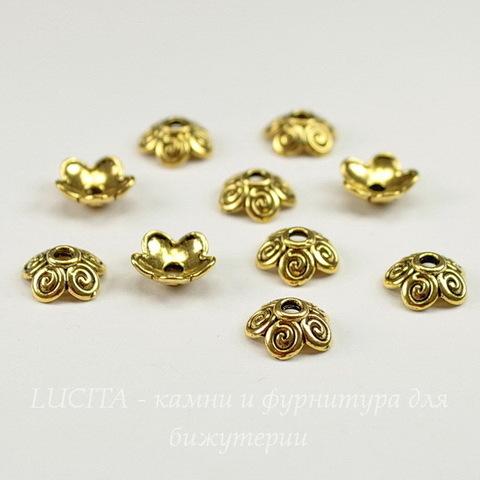 """Шапочка для бусины с узором """"5 завитков"""" (цвет - античное золото) 10х4 мм, 10 штук"""