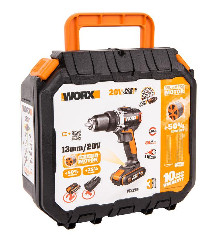 Дрель-шуруповерт аккумуляторная WORX WX175, 20В, бесщеточная, 2Ач x2, кейс