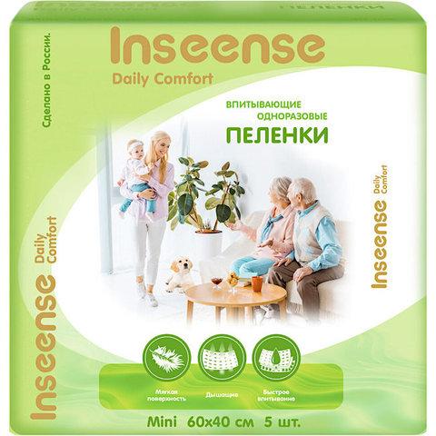 INSEENSE. Пеленки впитывающие Daily Comfort, 60-40 см (5 шт.)
