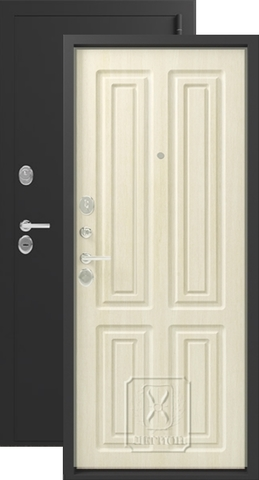 Дверь входная Зевс Z-6, 2 замка, 2 мм  металл, (чёрный шёлк+лиственница светлая)