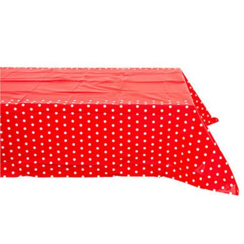 1502-3961 Скатерть п/э Горошек красная