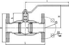 Конструкция LD КШ.Ц.Ф.250.016.П/П.02 Ду250 полный проход с редуктором