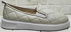 Женские слипоны на толстой подошве туфли бежевые Alpino 21YA-Y2859 Cream.