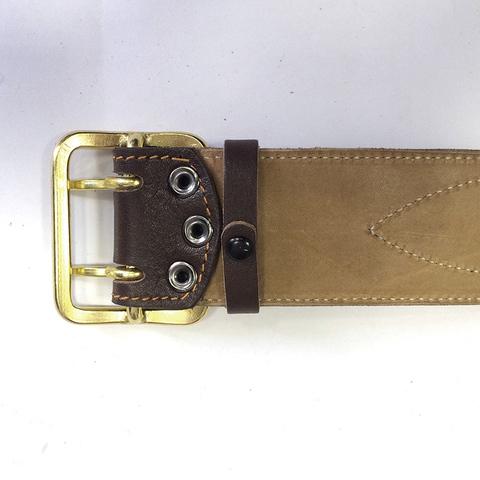 Ремень поясной с латунной проволочной пряжкой (h=50мм) подшив натуральной кожей