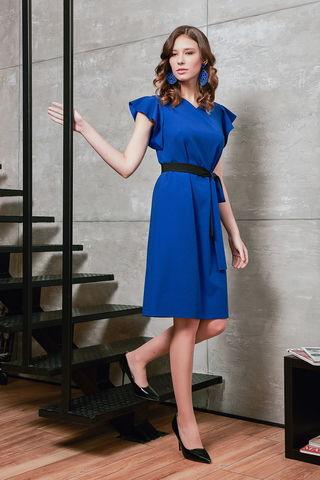 Фото красивое однотонное синее платье свободного фасона с поясом - Платье З426а-707 (1)