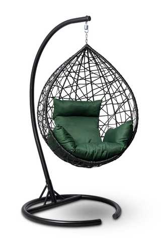 Подвесное кресло-кокон ALICANTE черное + каркас + зеленая подушка