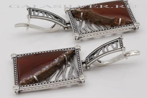 Серьги с сердоликом из серебра 925