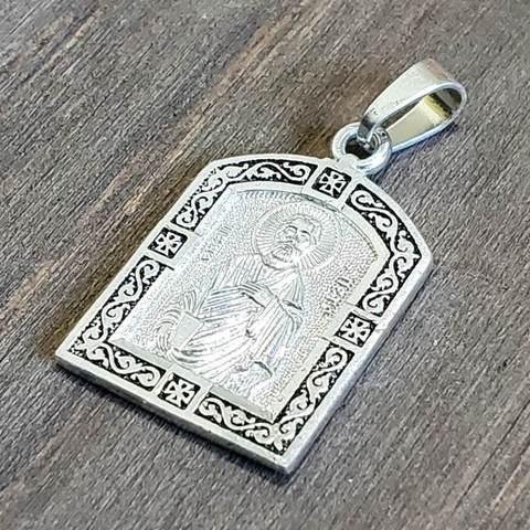 Нательная именная икона святой Апостол Петр с серебрением медальон кулон