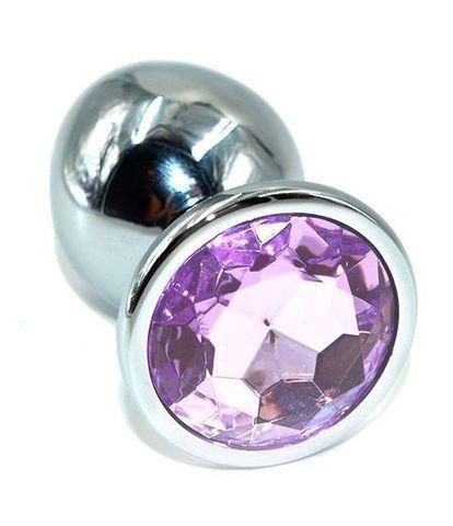 Серебристая анальная пробка с сиреневым кристаллом - 10 см.