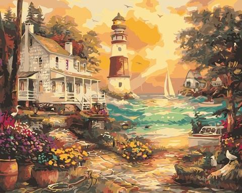 Картина раскраска по номерам 50x65 Солнечный маяк у дома (арт. RA3595)