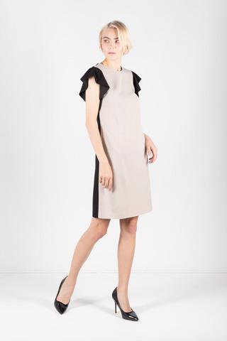Фото пастельное комбинированное платье с рукавами-крылышками и v-образным вырезом на спине - Платье З426-514 (1)